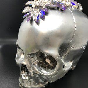 Swarovski Crystal Embellished Silver Skull